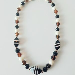 Fun Vintage Geometric Root Beer Acrylic Necklace